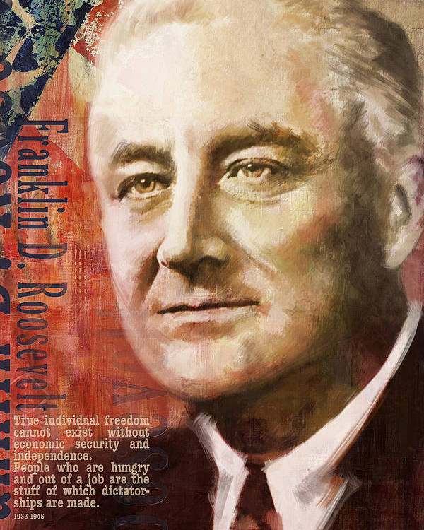 Franklin D. Roosevelt Poster featuring the painting Franklin D. Roosevelt by Corporate Art Task Force
