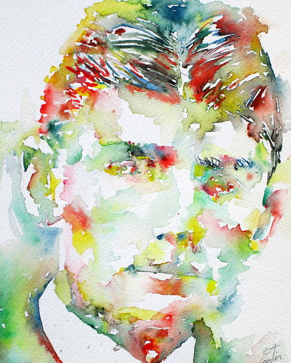 Franz Poster featuring the painting Franz Kafka Watercolor Portrait.2 by Fabrizio Cassetta