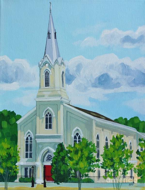 Church Painting Poster featuring the painting Fredericksburg Baptist Church by Annie Pierson