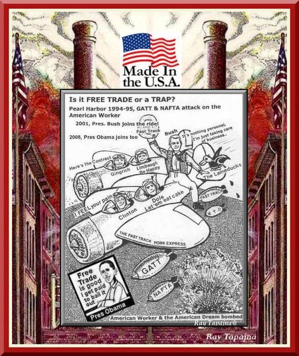 Pearl Harbor Attack On Workers Poster featuring the digital art Free Trade Trap by Ray Tapajna