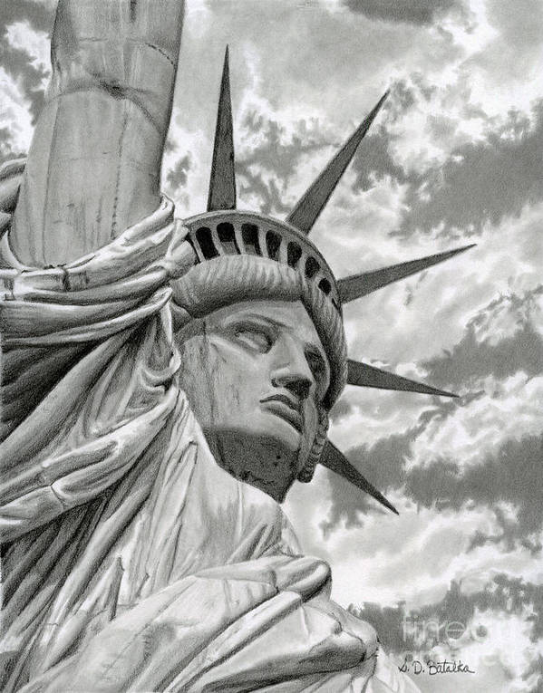 Statue Of Liberty Poster featuring the drawing Freedom by Sarah Batalka
