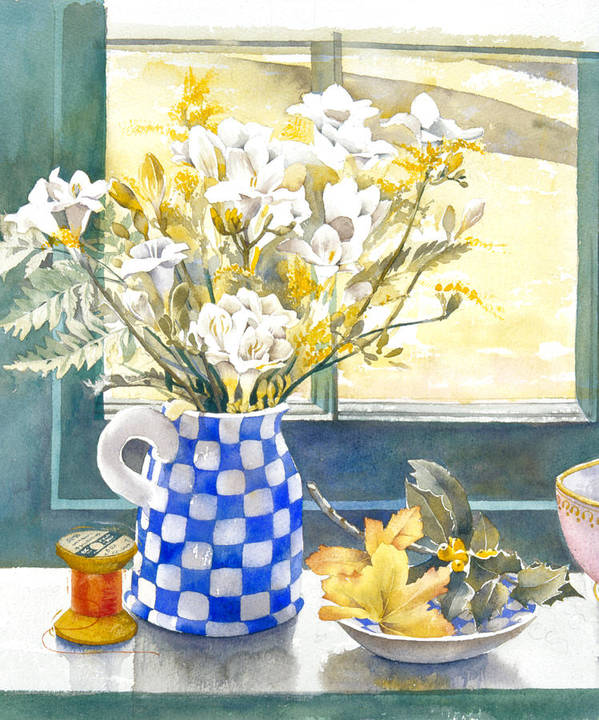 Julia Rowntree Poster featuring the photograph Freesias And Chequered Jug by Julia Rowntree