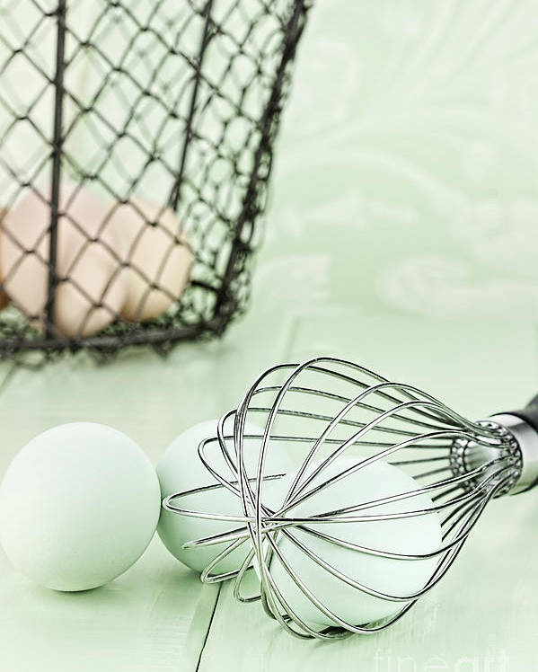Egg Poster featuring the photograph Fresh Farm Eggs And Whisk by Stephanie Frey
