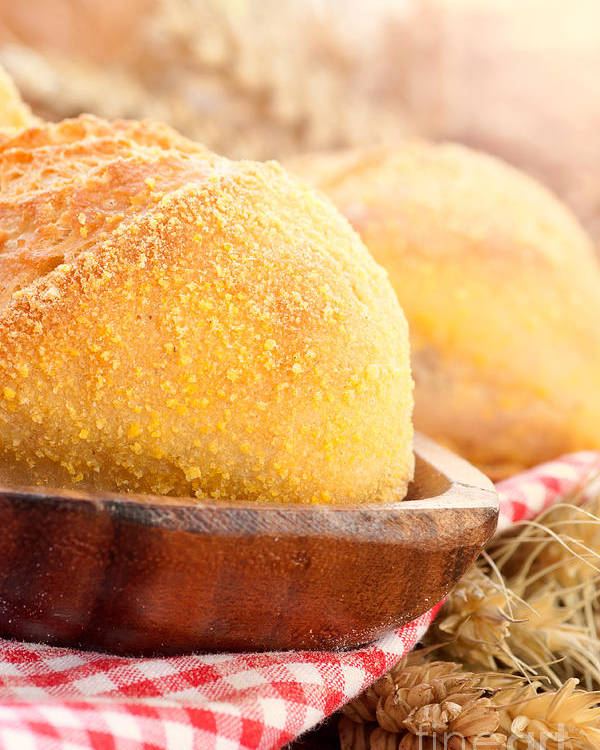 Background Poster featuring the photograph Freshly Baked Bread by Mythja Photography