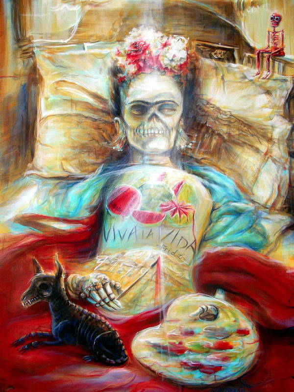 Day Of The Dead Poster featuring the painting Frida Viva La Vida by Heather Calderon