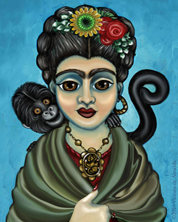 Frida Poster featuring the painting Frida's Monkey by Victoria De Almeida