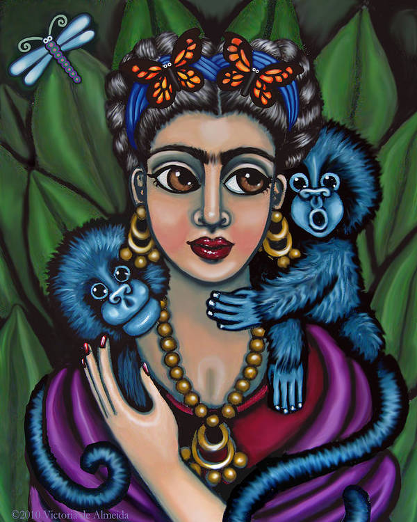 Mexican Folk Art Poster featuring the painting Frida's Monkeys by Victoria De Almeida