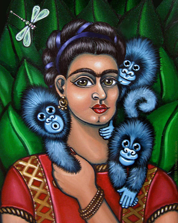Folk Art Poster featuring the painting Fridas Triplets by Victoria De Almeida