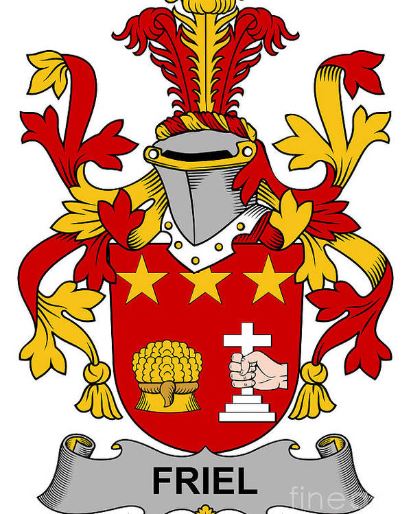 Friel Poster featuring the digital art Friel Coat Of Arms Irish by Heraldry
