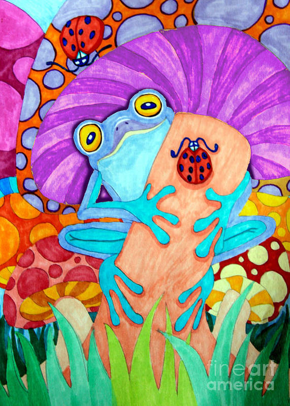 Frog Poster featuring the drawing Frog Under A Mushroom by Nick Gustafson