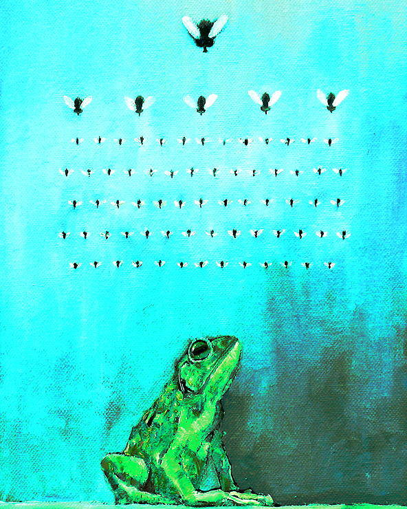 Frog Poster featuring the painting Frog With Flies In Space Invaders Formation by Fabrizio Cassetta