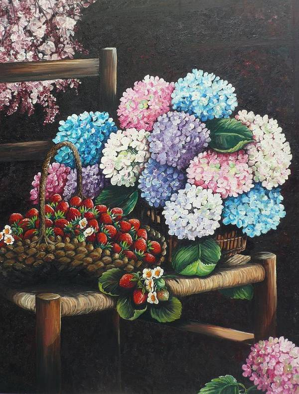 Hydrangea Paintings Floral Paintings Botanical Paintings Flower Paintings Blooms Hydrangeas Strawberries Paintings Red Paintings Basket Paintings Pink Paintings Garden Paintings  Blue Paintings  Greeting Card Paintings Canvas Paintings Poster Print Paintings  Poster featuring the painting From My Garden by Karin Dawn Kelshall- Best