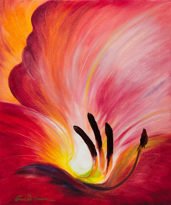 Red Poster featuring the painting From The Heart Of A Flower Red I by Gina De Gorna