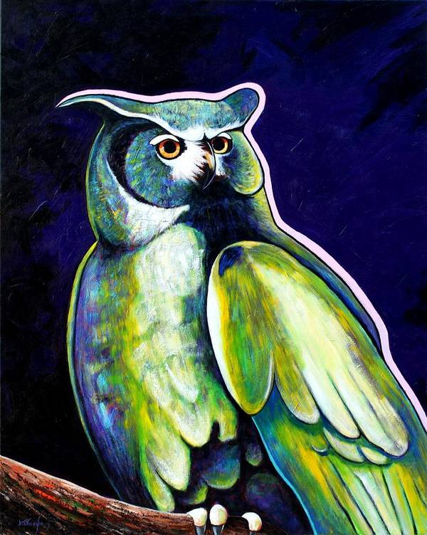 Owl Poster featuring the painting From The Shadows by Joe Triano