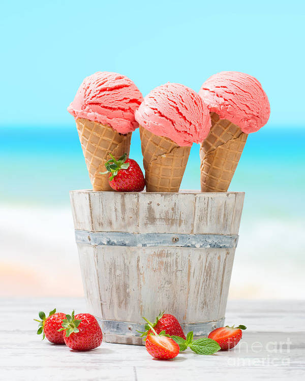 Strawberry Poster featuring the photograph Fruit Ice Cream by Amanda Elwell