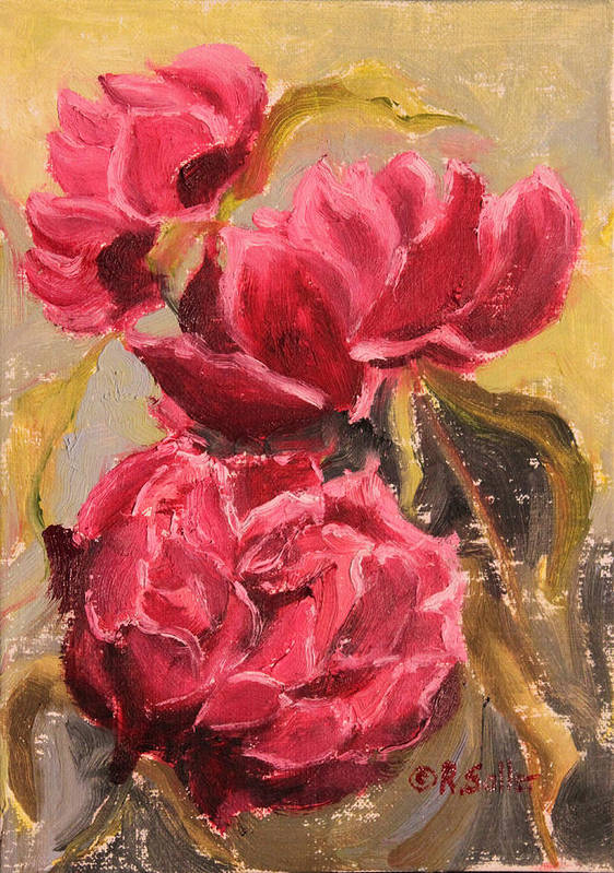 Ruth Soller Poster featuring the painting Fuchsia Peonies by Ruth Soller