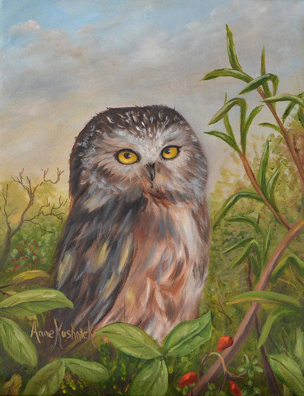 Owls Poster featuring the painting Fukuro by Anne Kushnick