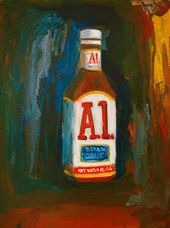 Acrylic Poster featuring the painting Full Flavored - A.1 Steak Sauce by Patricia Awapara