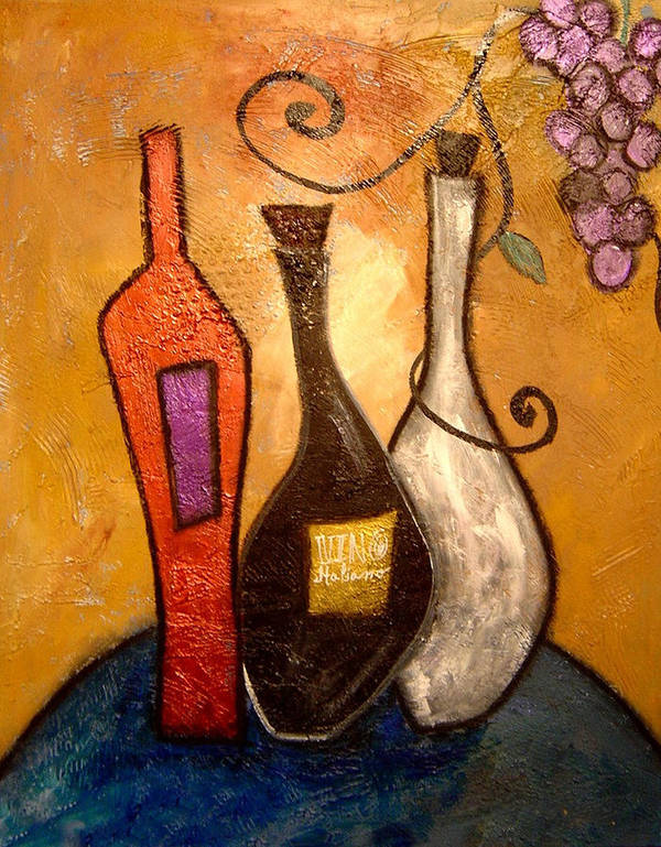 Colorful Abstract Prints Poster featuring the painting funky Vino 10 by Gino Savarino