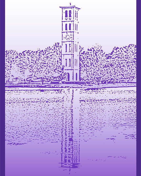 Furman University Poster featuring the digital art Furman Bell Tower by Greg Joens