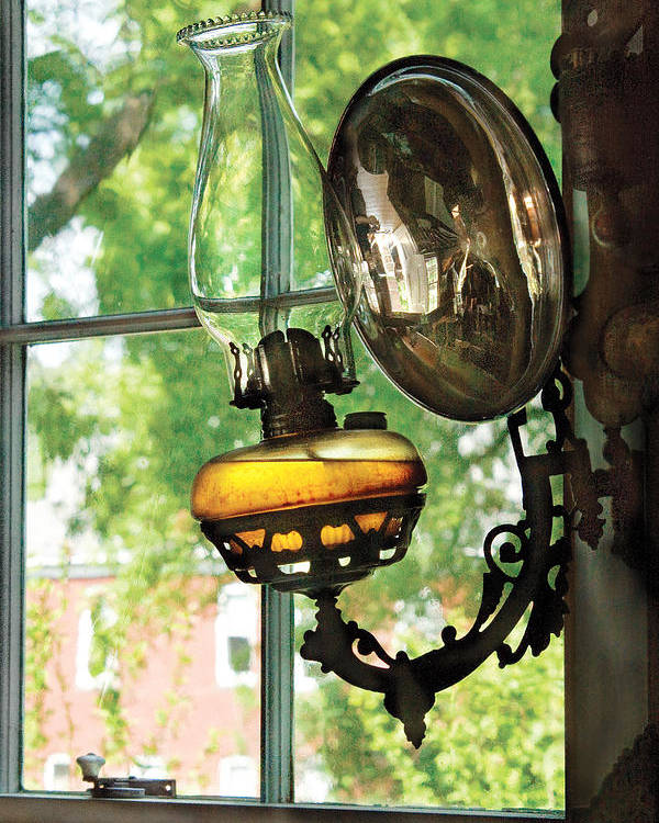 Savad Poster featuring the photograph Furniture - Lamp - An Oil Lantern by Mike Savad