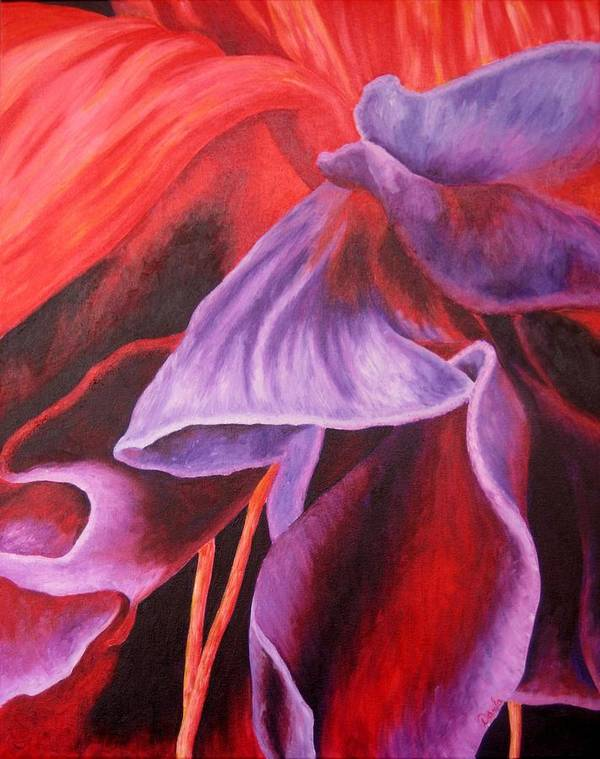Floral Poster featuring the painting Fuschia Folds by Darla Brock