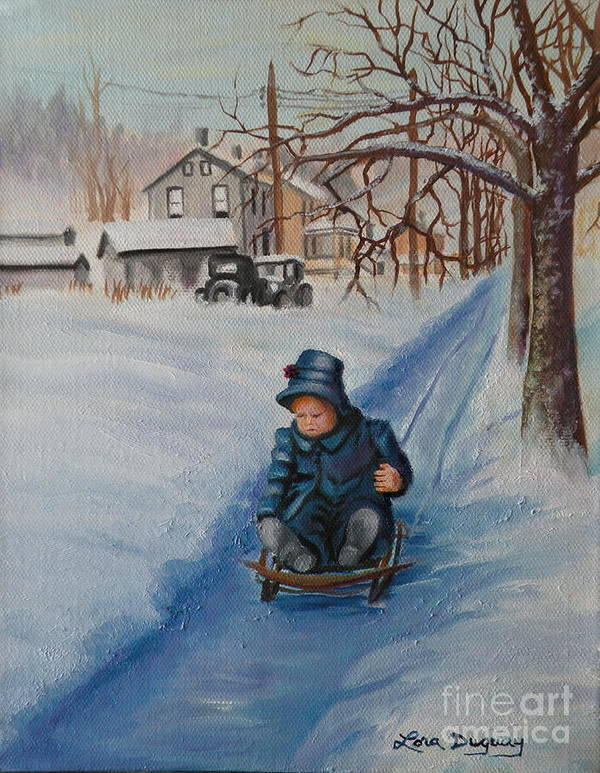 Snow Scene Poster featuring the painting Gails Christmas Adventure by Lora Duguay