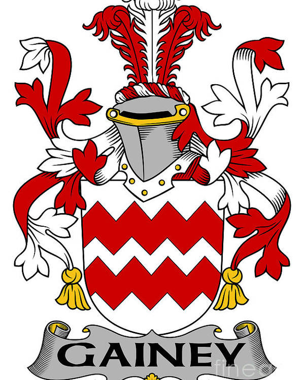 Gainey Poster featuring the digital art Gainey Coat Of Arms Irish by Heraldry