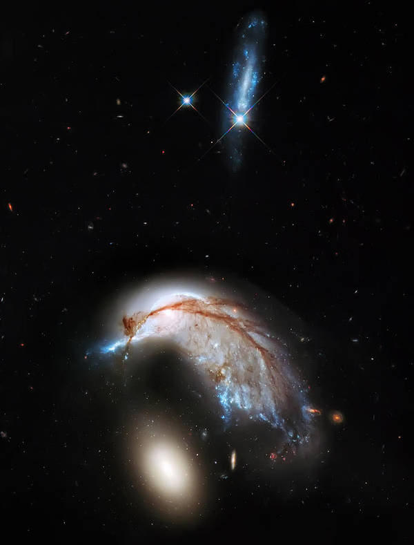 Nasa Images Poster featuring the photograph Galaxies Collide by Jennifer Rondinelli Reilly - Fine Art Photography