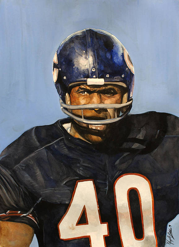 Gale Sayers Poster featuring the painting Gale Sayers by Michael Pattison