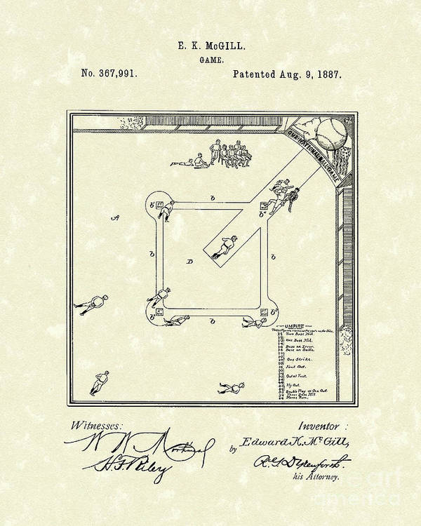 Mcgill Poster featuring the drawing Game 1887 Patent Art by Prior Art Design