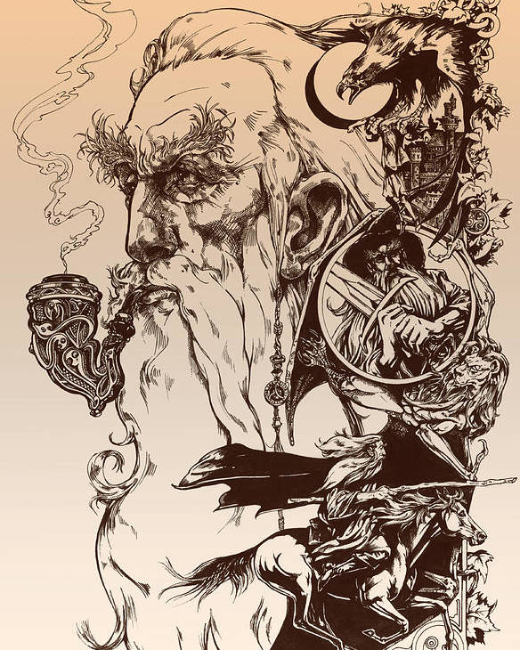 Wizard Poster featuring the drawing gandalf- Tolkien appreciation by Derrick Higgins