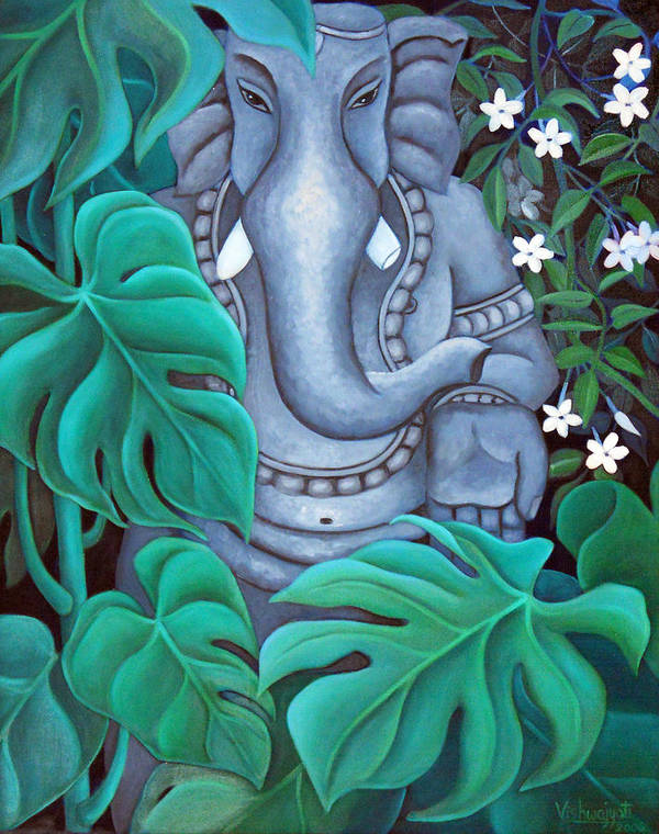 Ganesh Poster featuring the painting Ganesh With Jasmine Flowers 2 by Vishwajyoti Mohrhoff