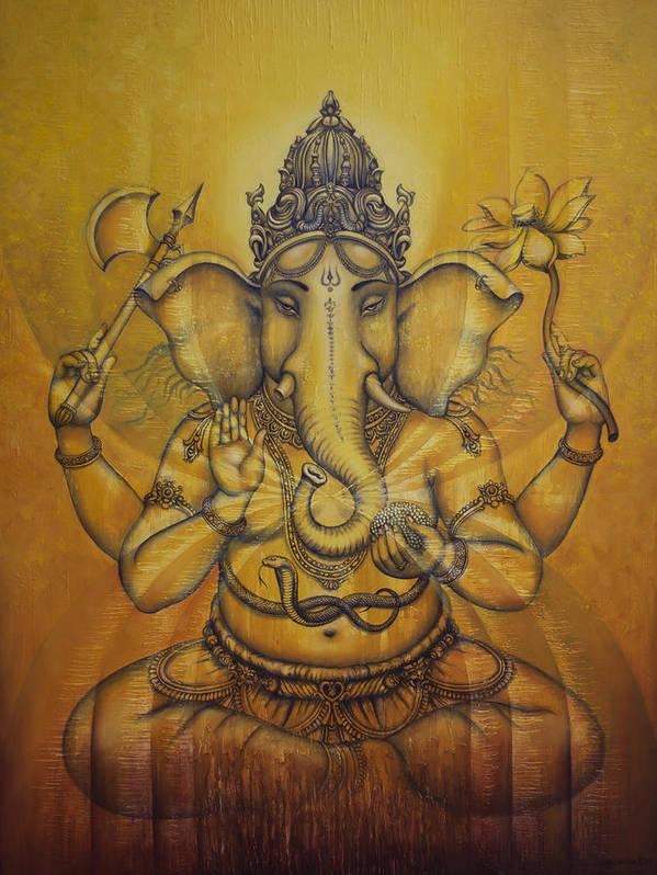Ganesha Poster featuring the painting Ganesha Darshan by Vrindavan Das