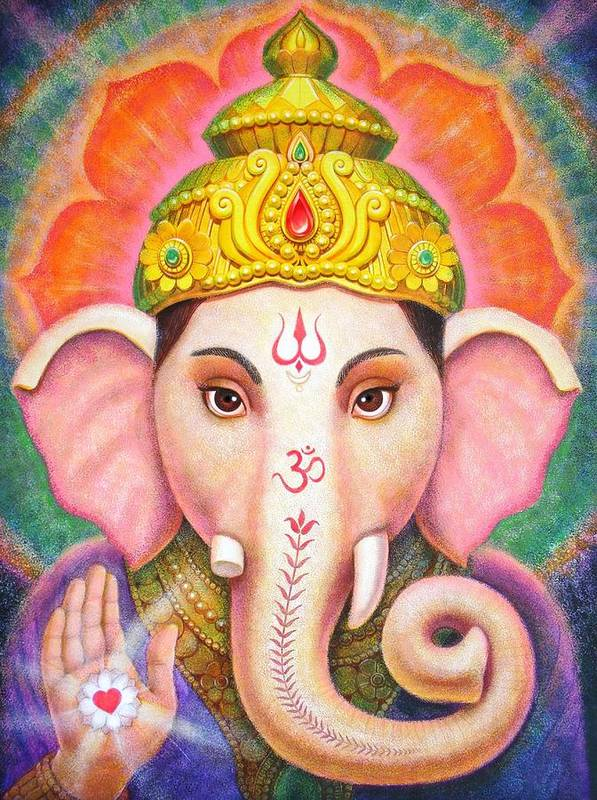 Ganesha Poster featuring the painting Ganesha's Blessing by Sue Halstenberg