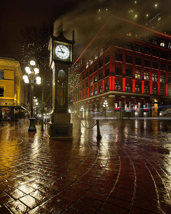 Gastown Poster featuring the photograph Gastown Steam Clock On A Rainy Night Vertical by Jit Lim