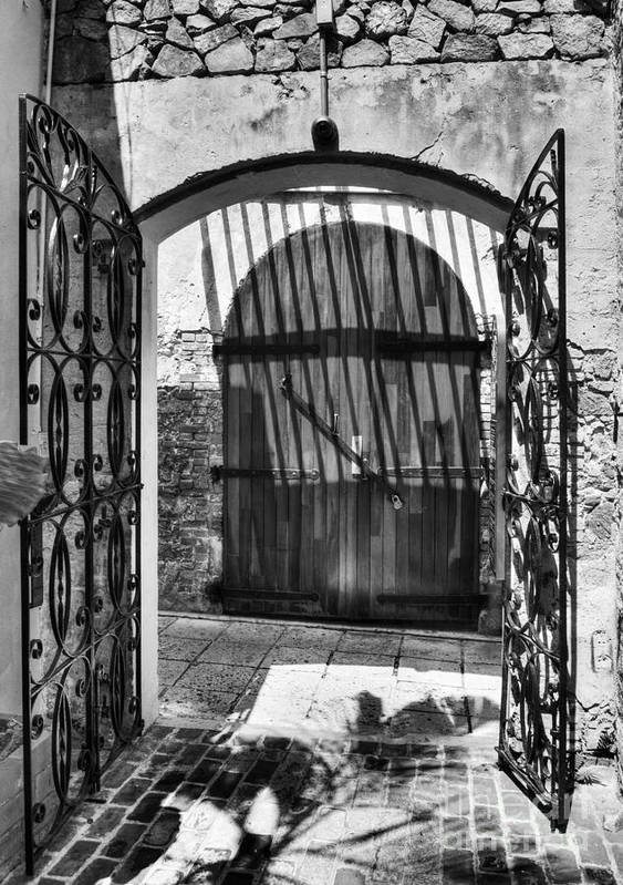 Charlotte Amalie Poster featuring the photograph Gates Of Saint Thomas 2 Bw by Mel Steinhauer
