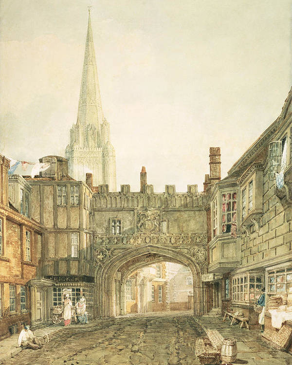 45 6x31 5cm Poster featuring the painting Gateway To The Close, Salisbury by Joseph Mallord William Turner
