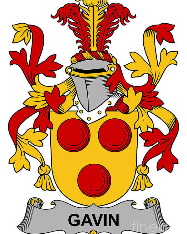 Gavin Poster featuring the digital art Gavin Coat Of Arms Irish by Heraldry