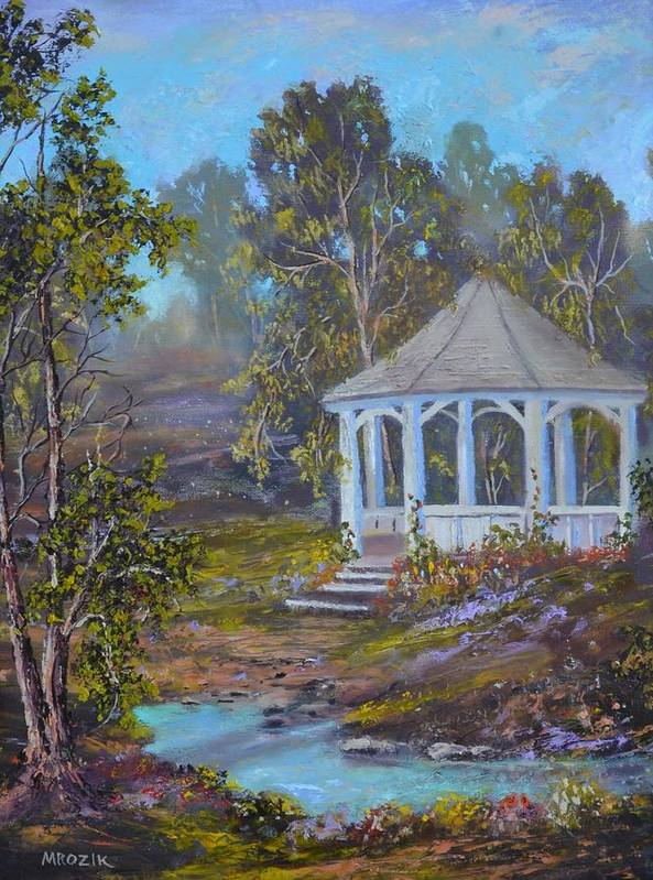 Landscape Poster featuring the painting Gazebo And A Dream by Michael Mrozik