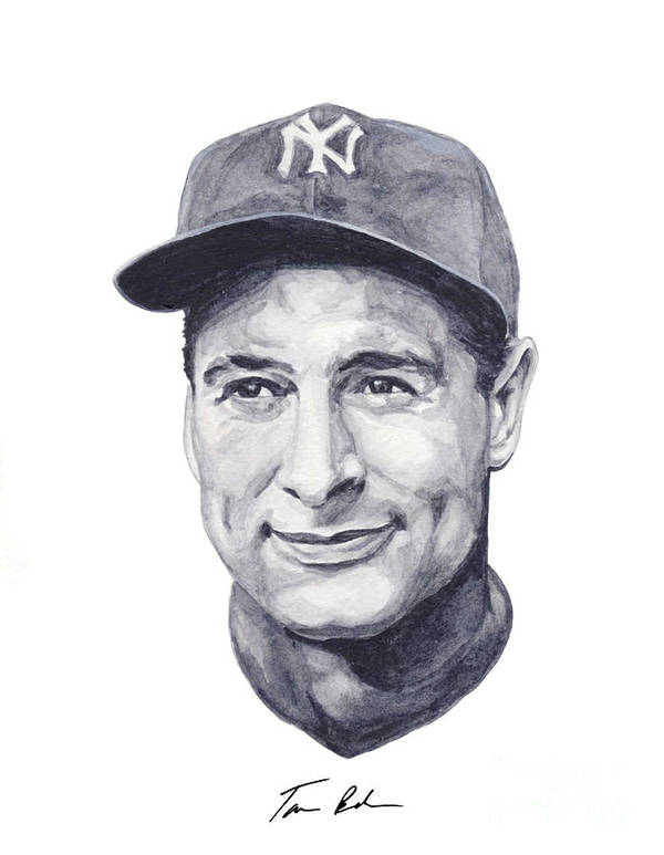 Lou Gehrig Poster featuring the painting Gehrig by Tamir Barkan