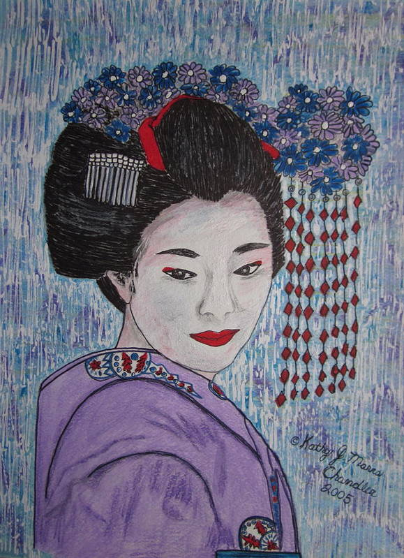 Oriental Poster featuring the painting Geisha Girl by Kathy Marrs Chandler