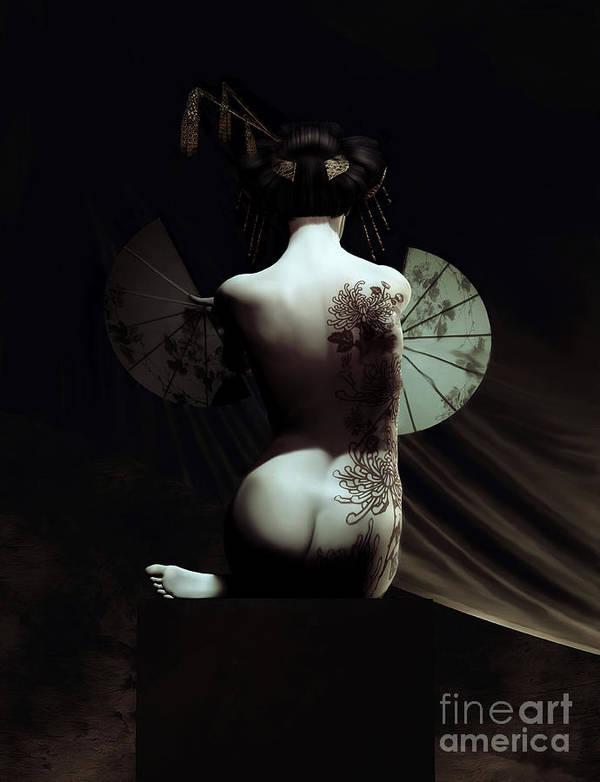 Geisha Poster featuring the digital art Geisha by Shanina Conway