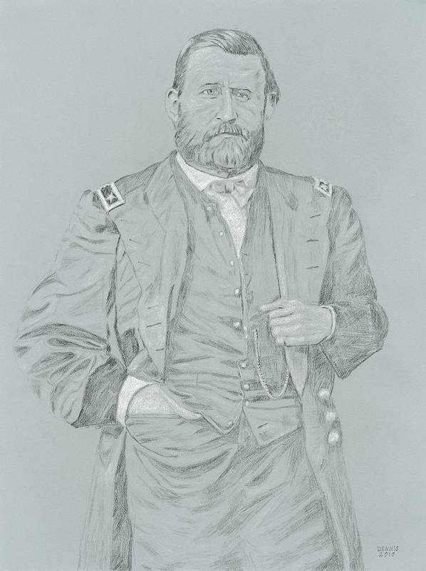 General Grant Poster featuring the drawing General Grant by Dennis Larson