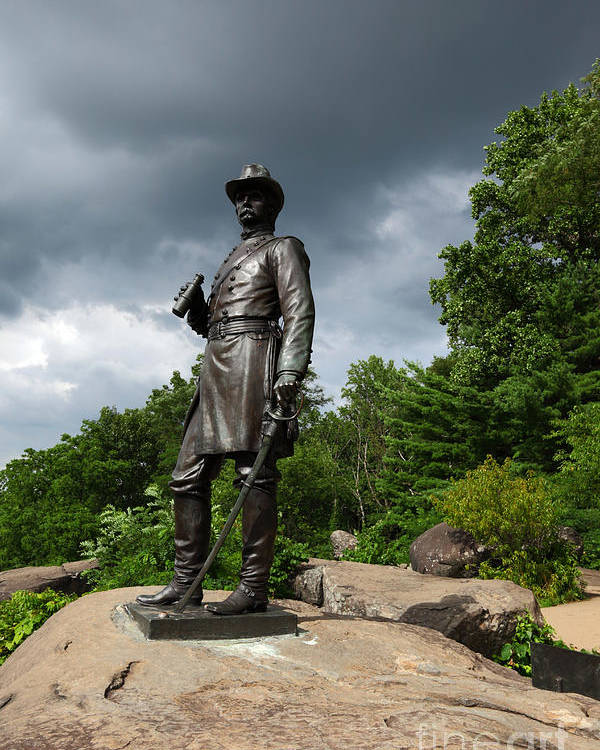 Gettysburg Poster featuring the photograph General K Warren Monument Gettysburg by James Brunker