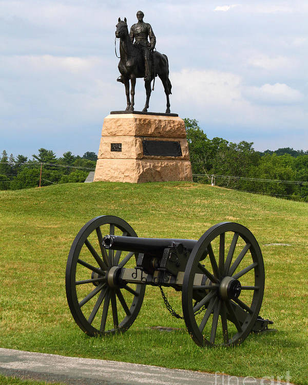 Gettysburg Poster featuring the photograph General Meade Monument And Cannon by James Brunker