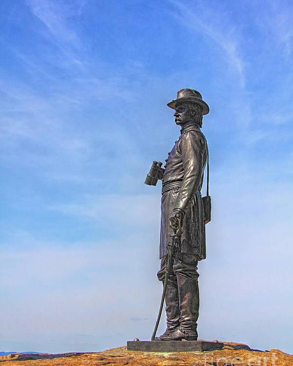 General Warren Poster featuring the photograph General Warren Statue At Gettysburg by Randy Steele