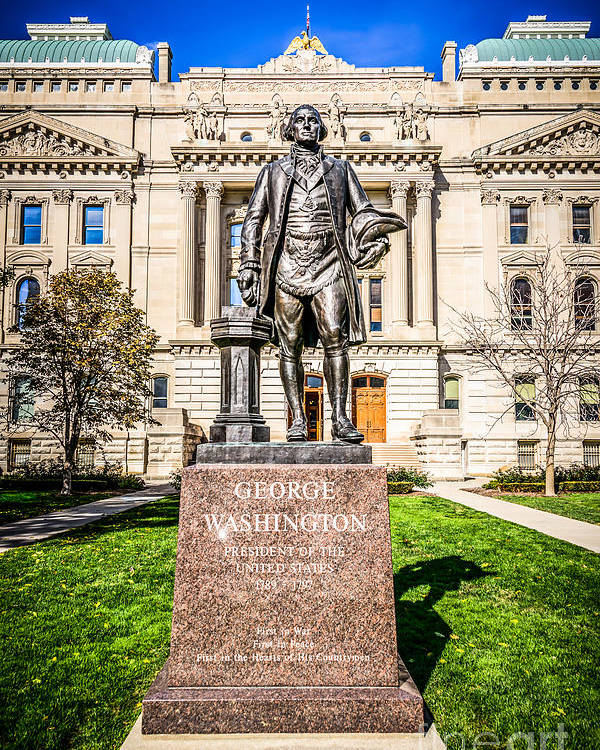 America Poster featuring the photograph George Washington Statue Indianapolis Indiana Statehouse by Paul Velgos