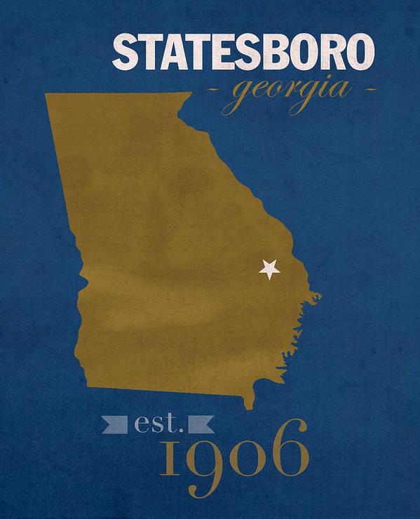 Map Of Georgia Southern.Georgia Southern University Eagles Statesboro College Town State Map