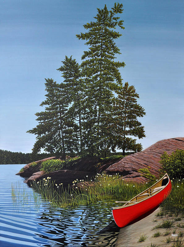 Landscapes Poster featuring the painting Georgian Bay Beached Canoe by Kenneth M Kirsch